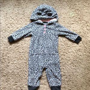 Carters cheetah print fleece one piece